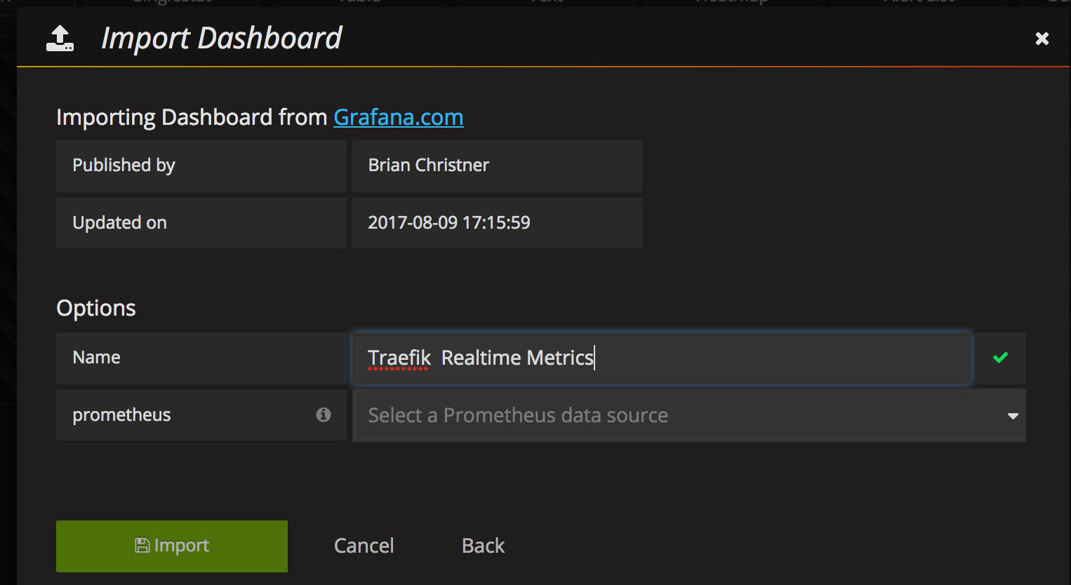 Grafana Dashboard for Traefik Metrics